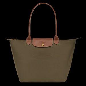 Longchamp Women Large Brown Leather Trim Le Pliage